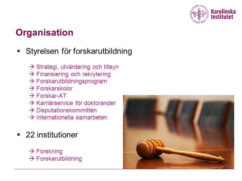 Organisation  Styrelsen för forskarutbildning  Strategi, utvärdering och tillsyn  Finansiering och rekrytering  Forskarutbildningsprogram  Forska