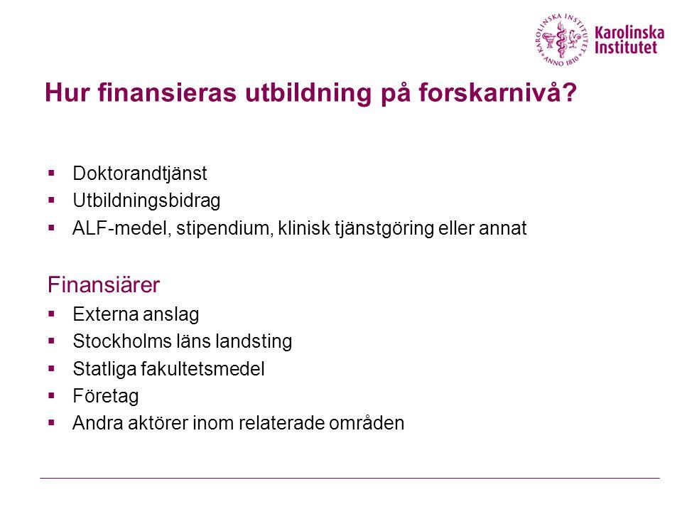 Hur finansieras utbildning på forskarnivå?  Doktorandtjänst  Utbildningsbidrag  ALF-medel, stipendium, klinisk tjänstgöring eller annat Finansiärer