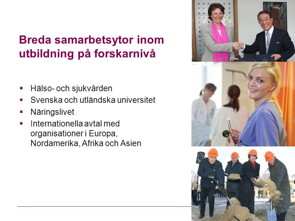 Breda samarbetsytor inom utbildning på forskarnivå  Hälso- och sjukvården  Svenska och utländska universitet  Näringslivet  Internationella avtal