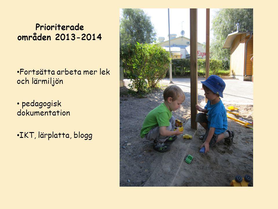 Prioriterade områden 2013-2014 Fortsätta arbeta mer lek och lärmiljön pedagogisk dokumentation IKT, lärplatta, blogg