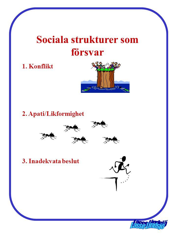 Sociala strukturer som försvar 1. Konflikt 2. Apati/Likformighet 3. Inadekvata beslut
