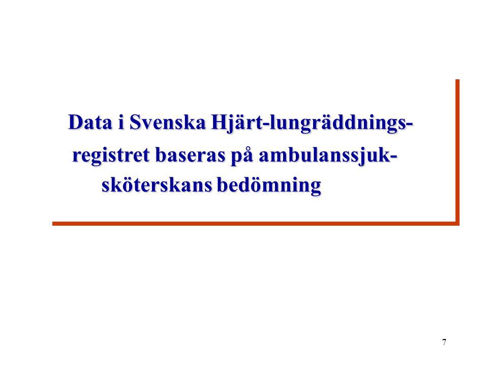 7 Data i Svenska Hjärt-lungräddnings- registret baseras på ambulanssjuk- sköterskans bedömning Data i Svenska Hjärt-lungräddnings- registret baseras på ambulanssjuk- sköterskans bedömning