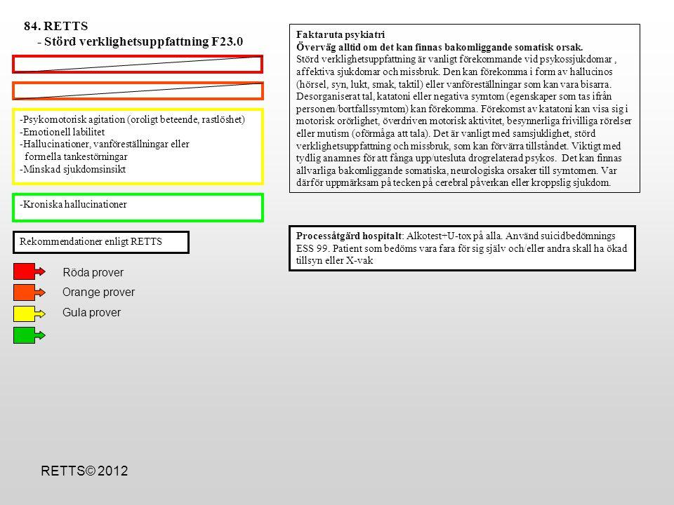 -Desorienterat/förvirrat beteende/konfusionell -Muskelrigiditet eller opistotonus (muskelkramp där huvud,nacke o rygg böjs bakåt) -Uttalade psykotiska symtom -Psykomotorisk agitation (oroligt beteende, rastlöshet) -Psykotiska symtom -Emotionell labilitet -Abstinenssymtom -Mydriasis -Önskemål om avgiftning/abstinensbehandling hos patient med alkohol/substanspåverkan utan allvarligare symtom - Processåtgärd: Alkotest+U-tox på alla.