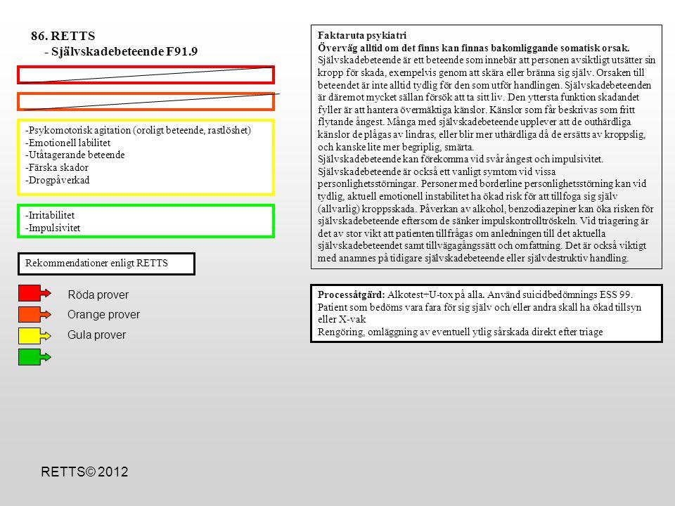 -Försämrad kognitiv funktion pga svältpåverkan -Drogpåverkad -BMI <14 -Okontrollerade kräkningar (rätt ESS ?) -Påtaglig sömnstörning, trötthetskänslor -Koncentrationssvårigheter -Behov av att bryta recidiv av AN som varat  6 mån -Hetsätning med/utan efterföljande självrensning -BMI 14-17.5 Processåtgärd: Vikt och BMI beräkning.