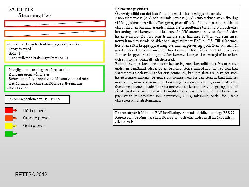 -Försämrad kognitiv funktion pga svältpåverkan -Drogpåverkad -BMI <14 -Okontrollerade kräkningar (rätt ESS ?) -Påtaglig sömnstörning, trötthetskänslor