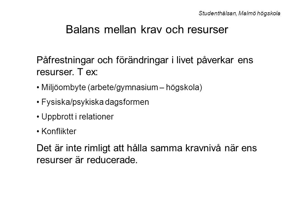 Jag Personliga egenskaper Sysselsättnings- situation Fritids- familjesituation Studenthälsan, Malmö högskola Kartläggningsmodell Gör en kartläggning av din livssituation - kartlägg såväl styrkor som svagheter!