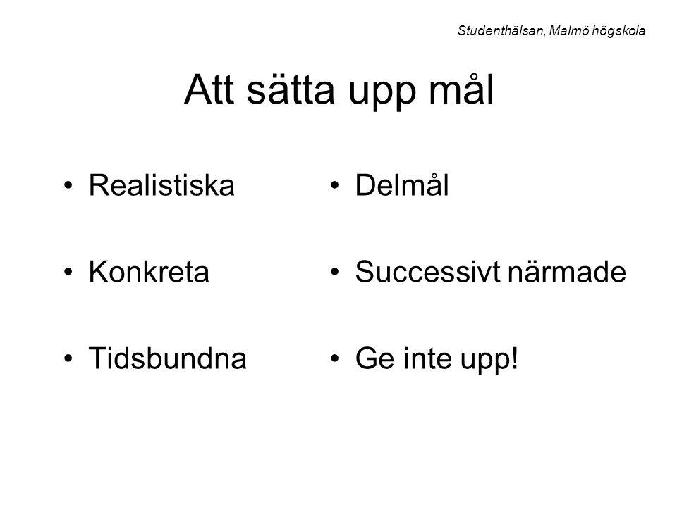 Att sätta upp mål Realistiska Konkreta Tidsbundna Studenthälsan, Malmö högskola Delmål Successivt närmade Ge inte upp!