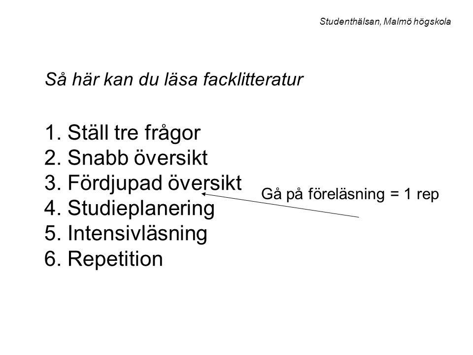 Så här kan du läsa facklitteratur 1. Ställ tre frågor 2. Snabb översikt 3. Fördjupad översikt 4. Studieplanering 5. Intensivläsning 6. Repetition Gå p
