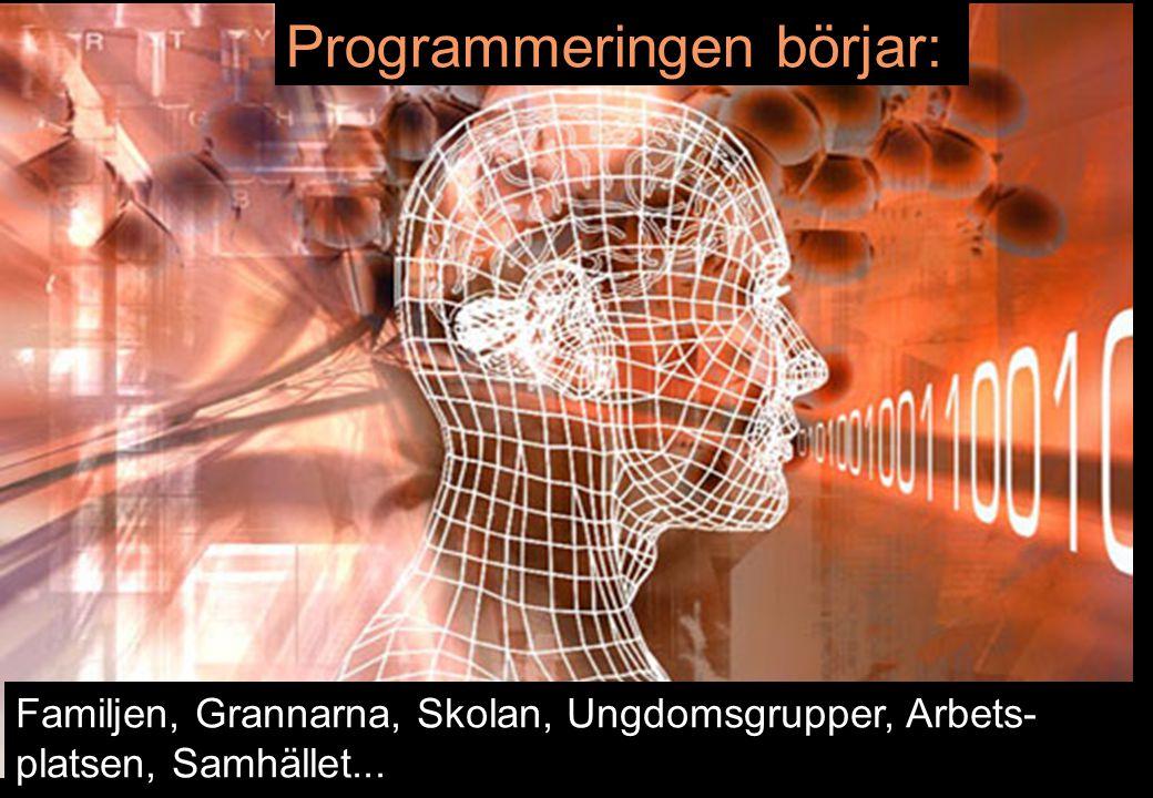 10 Programmeringen börjar: Familjen, Grannarna, Skolan, Ungdomsgrupper, Arbets- platsen, Samhället...