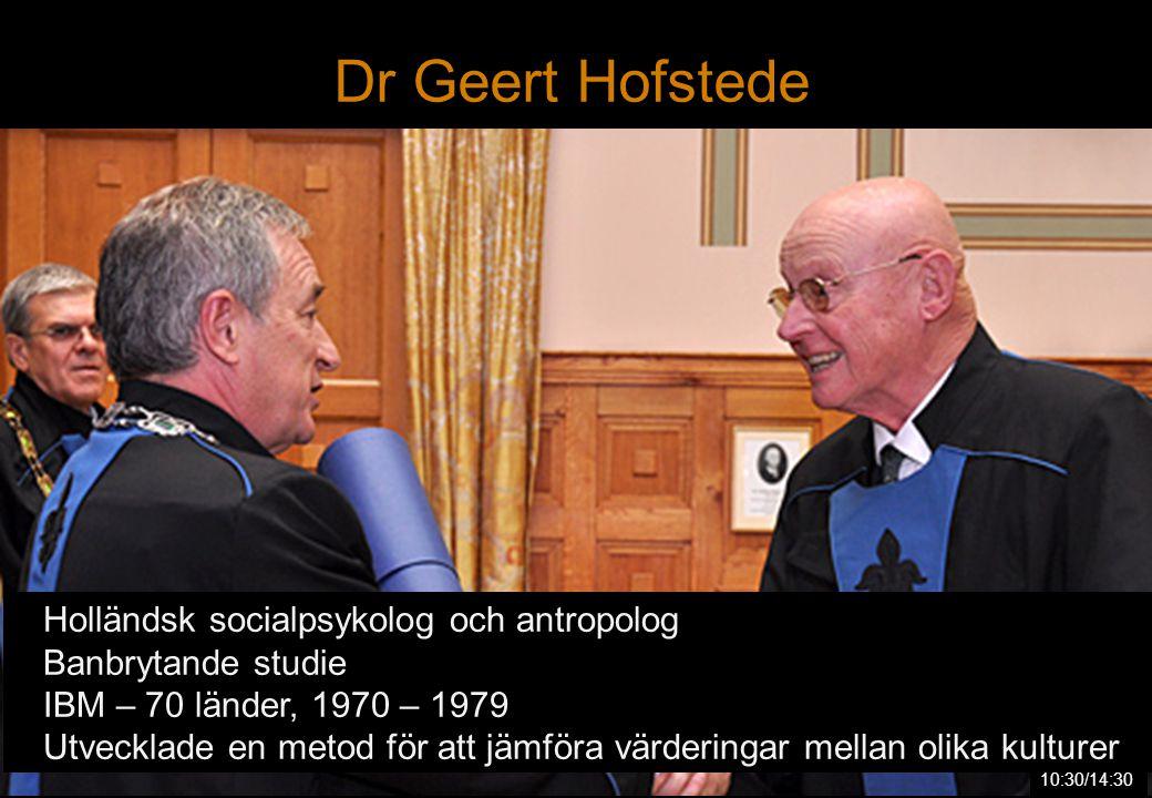  Holländsk socialpsykolog och antropolog  Banbrytande studie  IBM – 70 länder, 1970 – 1979  Utvecklade en metod för att jämföra värderingar mellan olika kulturer Dr Geert Hofstede 10:30/14:30