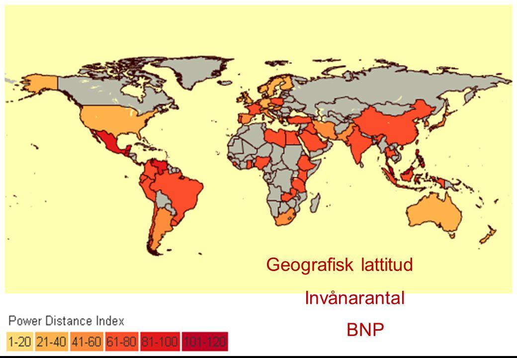 Geografisk lattitud Invånarantal BNP