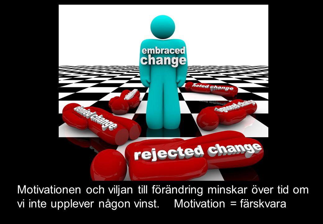 Motivationen och viljan till förändring minskar över tid om vi inte upplever någon vinst.