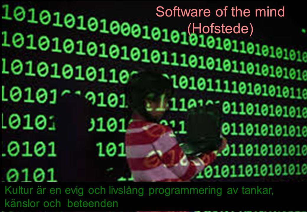 9 Kultur är en evig och livslång programmering av tankar, känslor och beteenden Software of the mind (Hofstede)