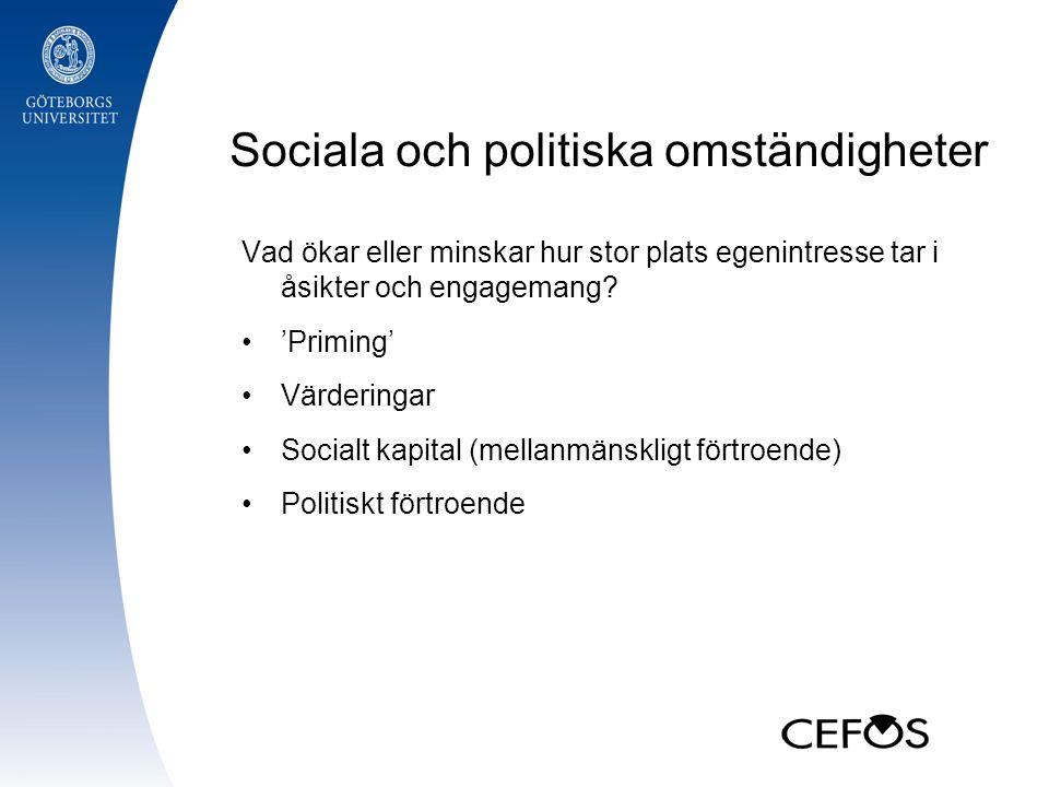 Sociala och politiska omständigheter Vad ökar eller minskar hur stor plats egenintresse tar i åsikter och engagemang.