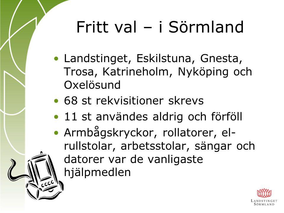 Fritt val – i Sörmland Landstinget, Eskilstuna, Gnesta, Trosa, Katrineholm, Nyköping och Oxelösund 68 st rekvisitioner skrevs 11 st användes aldrig oc