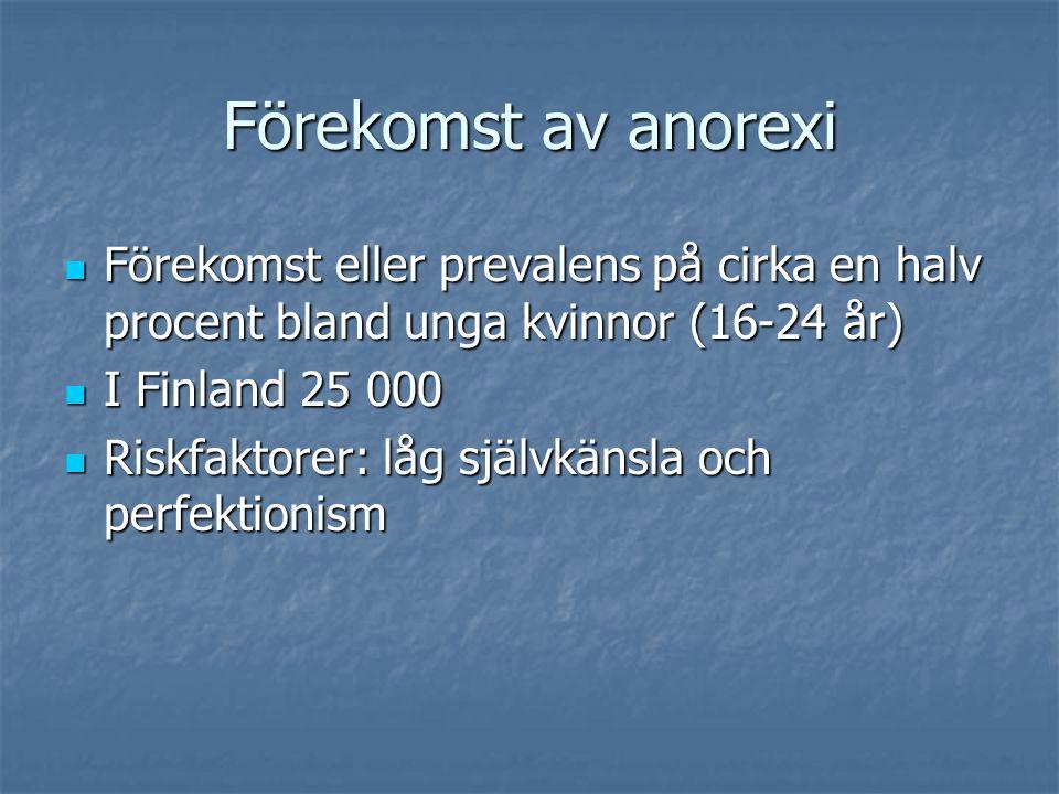 Förekomst av anorexi Förekomst eller prevalens på cirka en halv procent bland unga kvinnor (16-24 år) Förekomst eller prevalens på cirka en halv procent bland unga kvinnor (16-24 år) I Finland 25 000 I Finland 25 000 Riskfaktorer: låg självkänsla och perfektionism Riskfaktorer: låg självkänsla och perfektionism