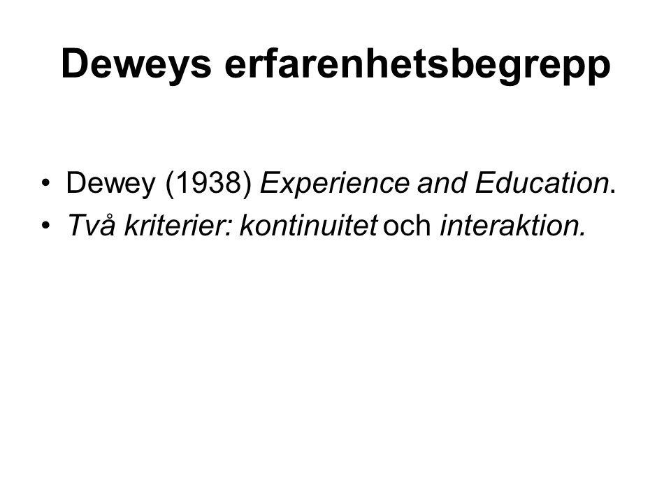 Deweys erfarenhetsbegrepp Dewey (1938) Experience and Education. Två kriterier: kontinuitet och interaktion.