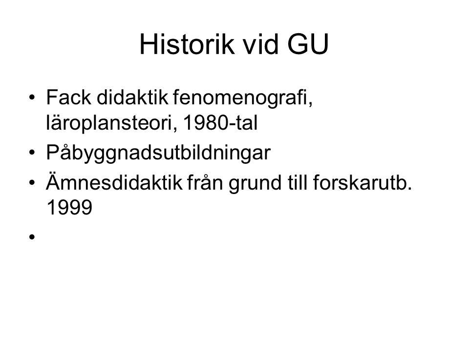 Historik vid GU Fack didaktik fenomenografi, läroplansteori, 1980-tal Påbyggnadsutbildningar Ämnesdidaktik från grund till forskarutb. 1999