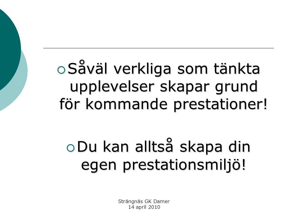 Strängnäs GK Damer 14 april 2010  Såväl verkliga som tänkta upplevelser skapar grund för kommande prestationer.
