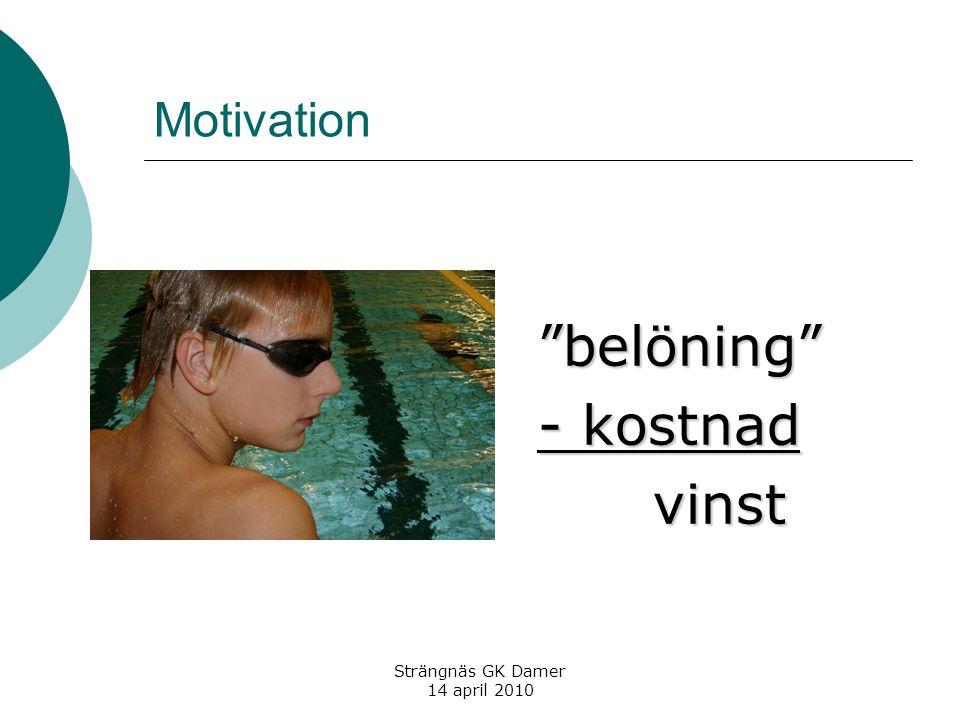 Strängnäs GK Damer 14 april 2010 Motivation belöning - kostnad vinst vinst