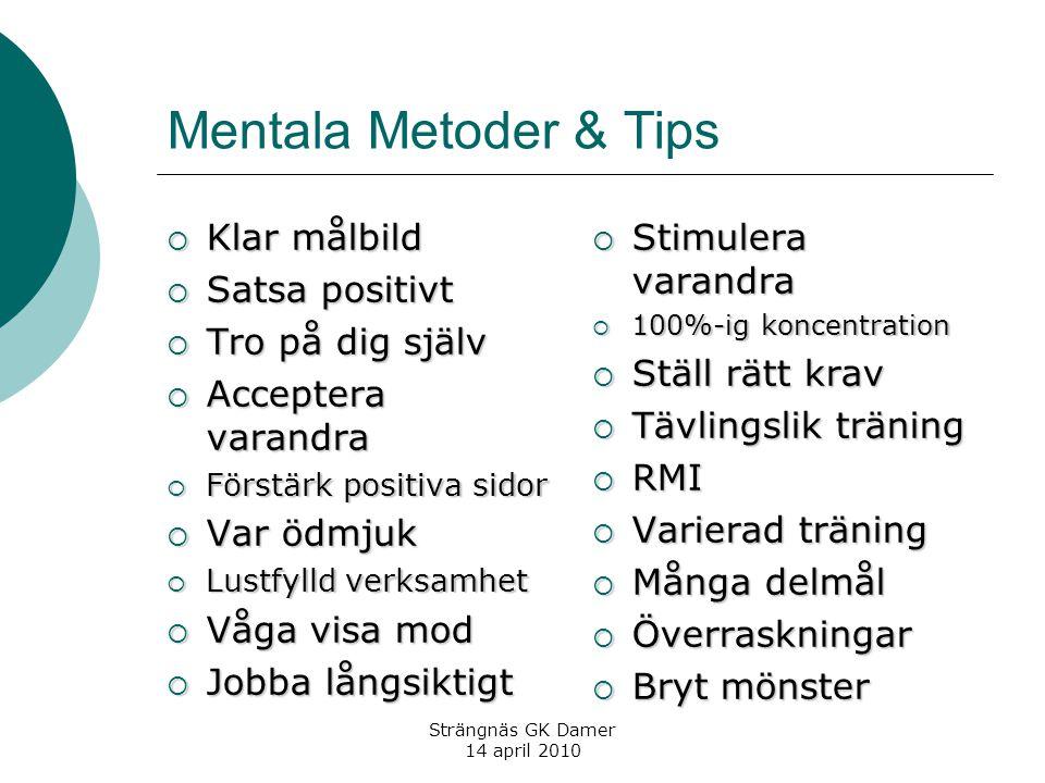 Strängnäs GK Damer 14 april 2010 Mentala Metoder & Tips  Klar målbild  Satsa positivt  Tro på dig själv  Acceptera varandra  Förstärk positiva si
