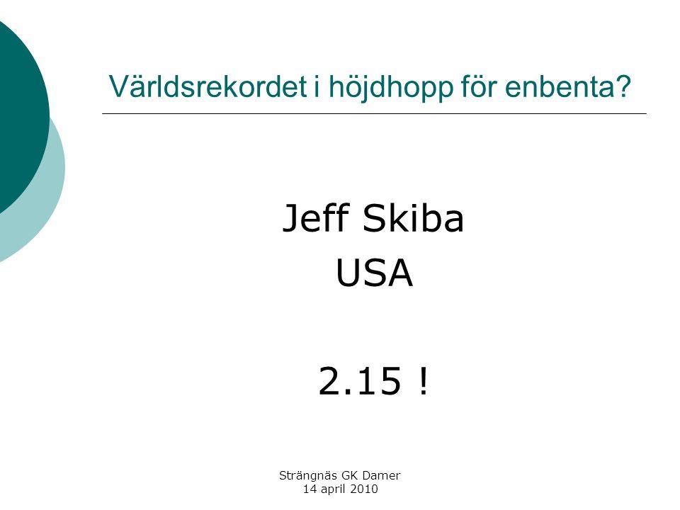 Världsrekordet i höjdhopp för enbenta? Jeff Skiba USA 2.15 ! Strängnäs GK Damer 14 april 2010