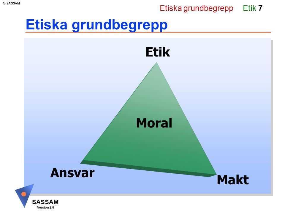 Etik 17 SASSAM Version 2.0 © SASSAM Etisk plattform För att lika möjligheter ska råda mellan olika grupper av individer måste det professionella handlandet bygga på etiska värden och lojaliteter som överensstämmer med varandra. Etisk plattform Gemensam etisk plattform