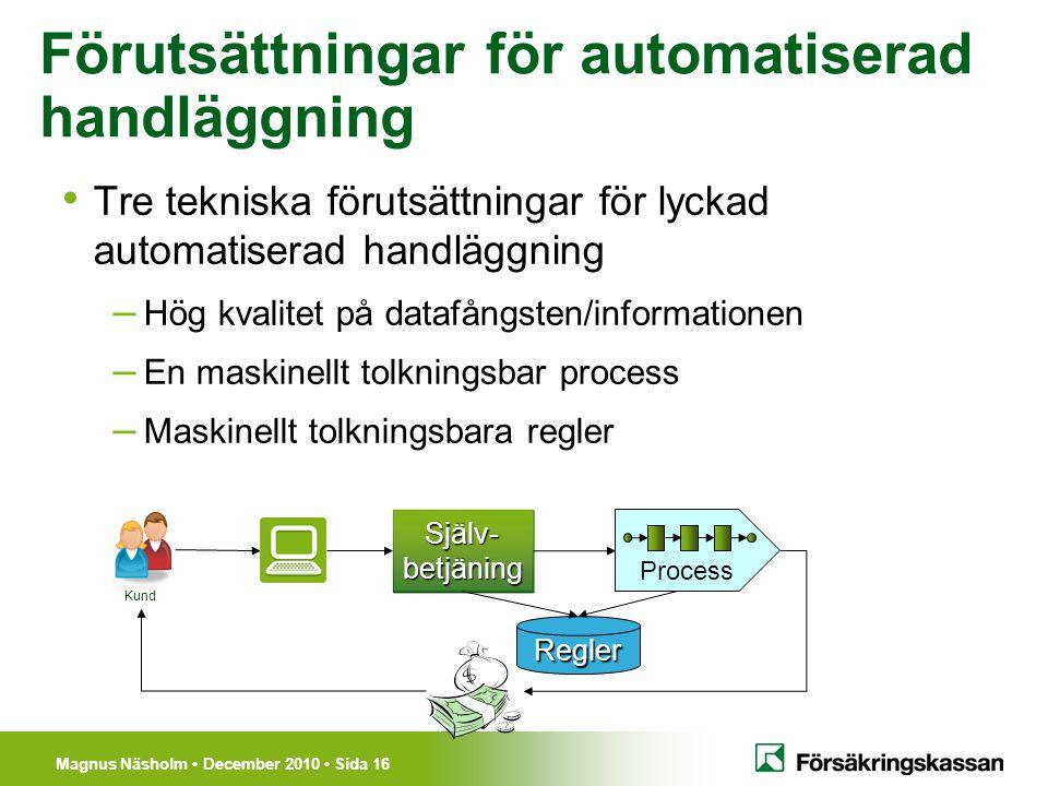 Magnus Näsholm December 2010 Sida 16 Förutsättningar för automatiserad handläggning Tre tekniska förutsättningar för lyckad automatiserad handläggning