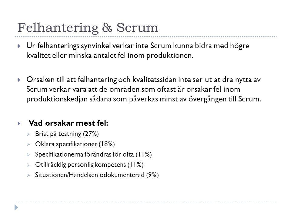 Felhantering & Scrum  Ur felhanterings synvinkel verkar inte Scrum kunna bidra med högre kvalitet eller minska antalet fel inom produktionen.  Orsak