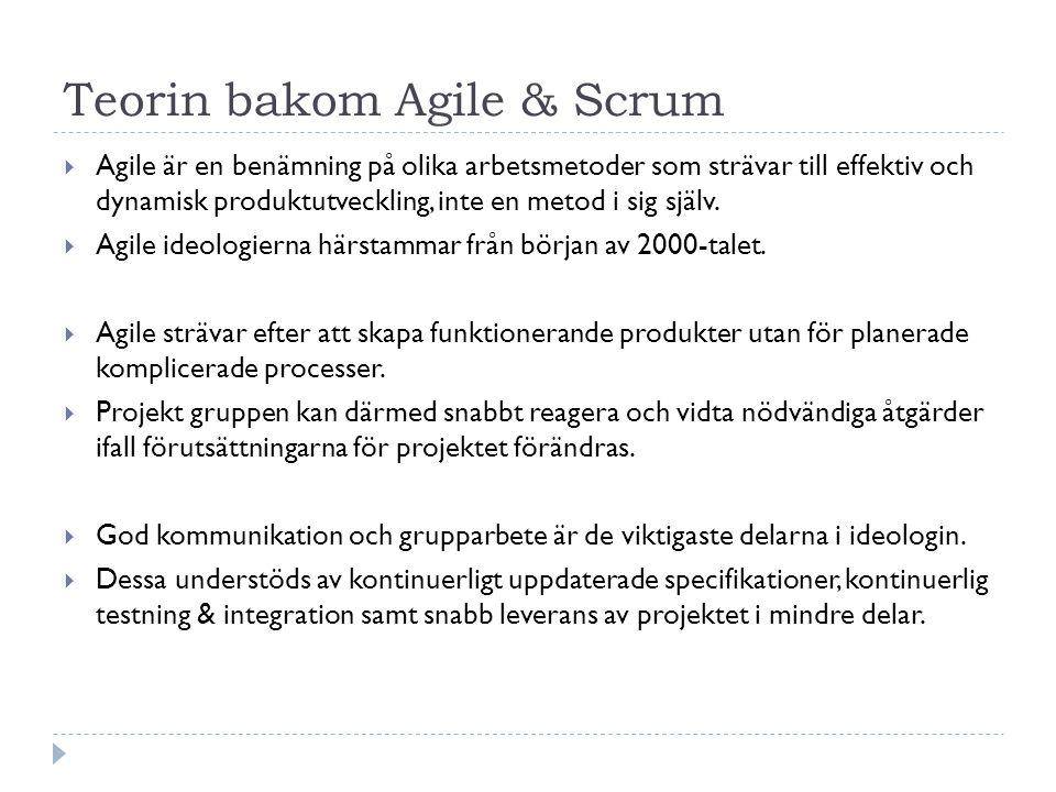 Teorin bakom Agile & Scrum  Agile är en benämning på olika arbetsmetoder som strävar till effektiv och dynamisk produktutveckling, inte en metod i si