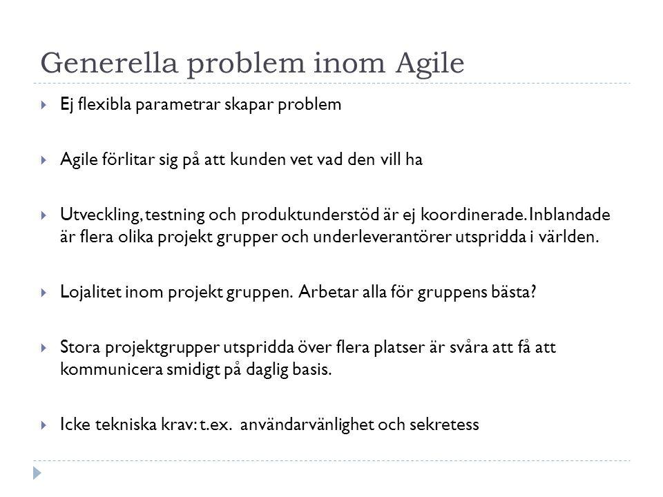 Generella problem inom Agile  Ej flexibla parametrar skapar problem  Agile förlitar sig på att kunden vet vad den vill ha  Utveckling, testning och