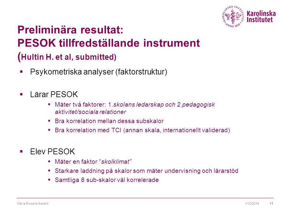 Preliminära resultat: PESOK tillfredställande instrument ( Hultin H.