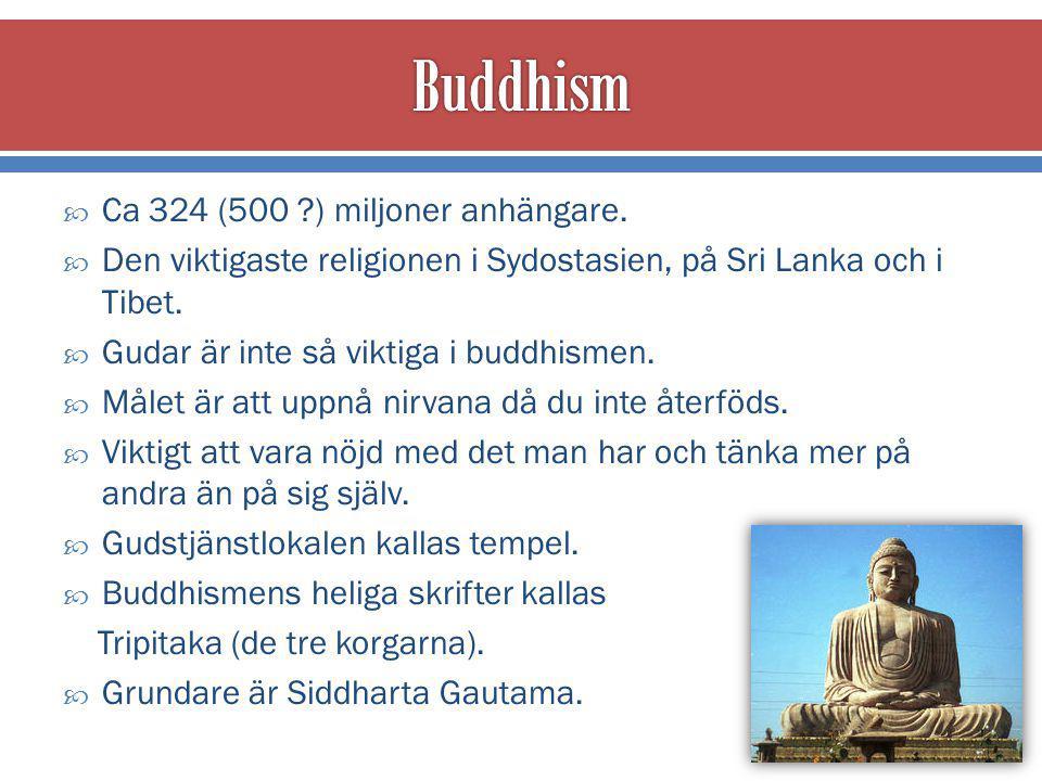  Buddha = en person som har blivit upplyst, nått fullständig kunskap.