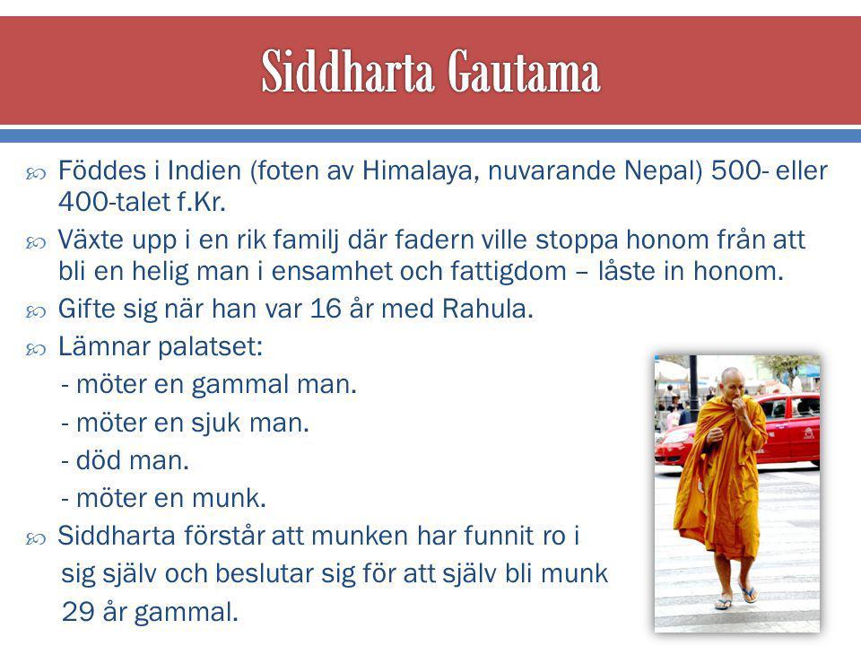  Föddes i Indien (foten av Himalaya, nuvarande Nepal) 500- eller 400-talet f.Kr.
