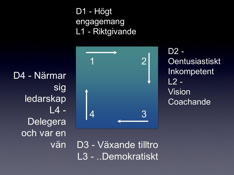 43 21 D1 - Högt engagemang L1 - Riktgivande D3 - Växande tilltro L3 -..Demokratiskt D2 - Oentusiastiskt Inkompetent L2 - Vision Coachande D4 - Närmar sig ledarskap L4 - Delegera och var en vän