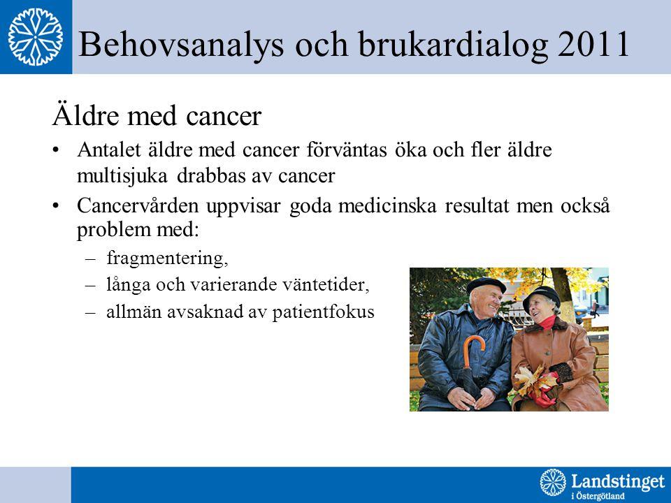 Behovsanalys och brukardialog 2011 Äldre med cancer Antalet äldre med cancer förväntas öka och fler äldre multisjuka drabbas av cancer Cancervården uppvisar goda medicinska resultat men också problem med: –fragmentering, –långa och varierande väntetider, –allmän avsaknad av patientfokus