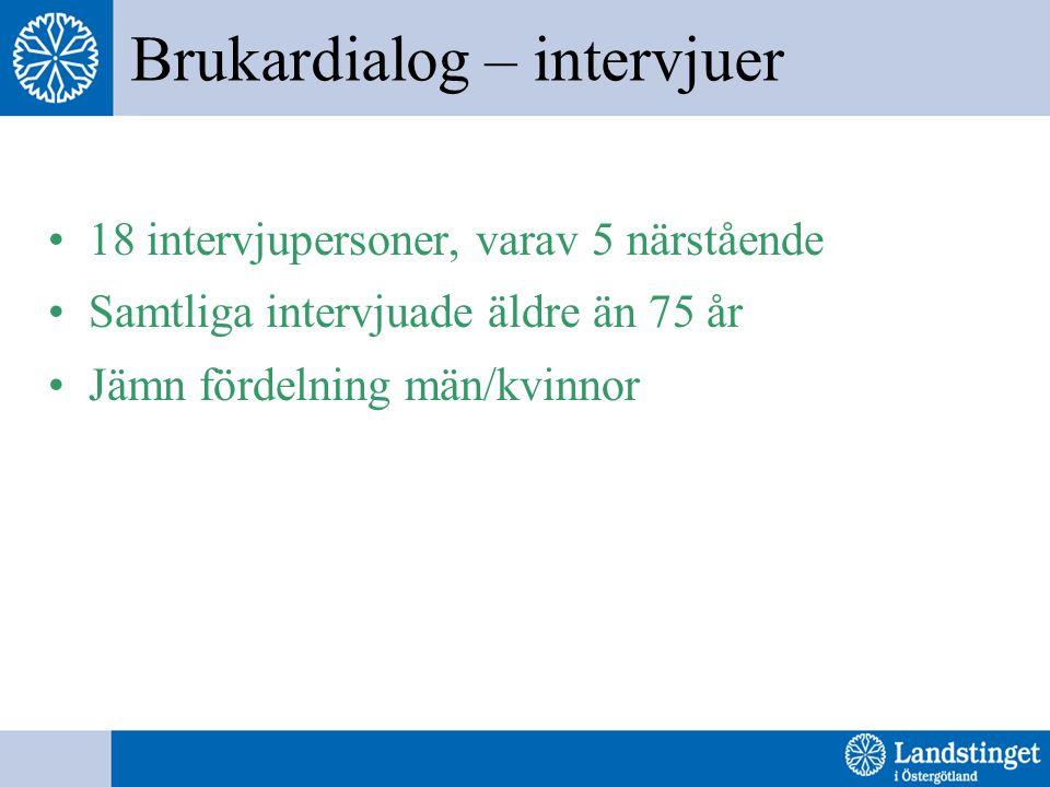 Brukardialog – intervjuer 18 intervjupersoner, varav 5 närstående Samtliga intervjuade äldre än 75 år Jämn fördelning män/kvinnor