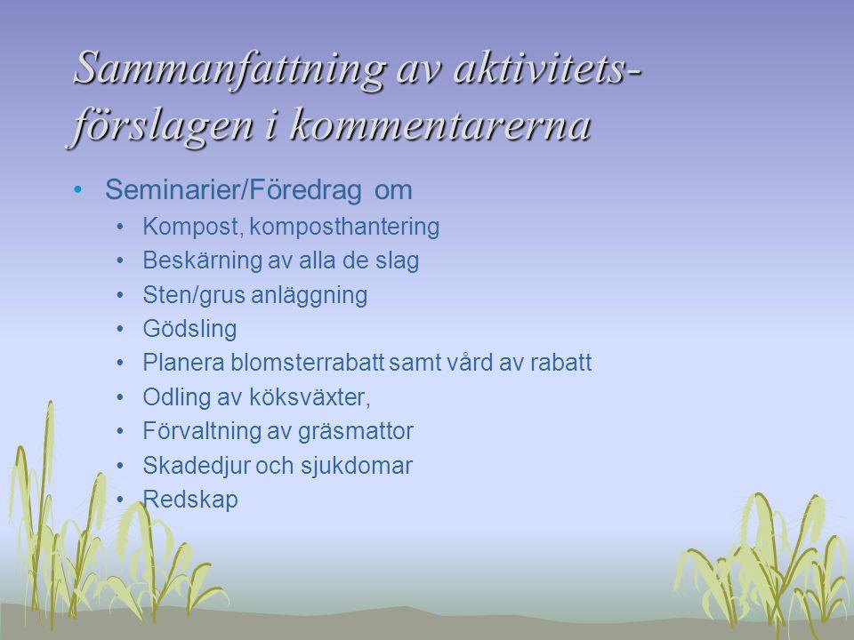 Sammanfattning av aktivitets- förslagen i kommentarerna Seminarier/Föredrag om Kompost, komposthantering Beskärning av alla de slag Sten/grus anläggning Gödsling Planera blomsterrabatt samt vård av rabatt Odling av köksväxter, Förvaltning av gräsmattor Skadedjur och sjukdomar Redskap