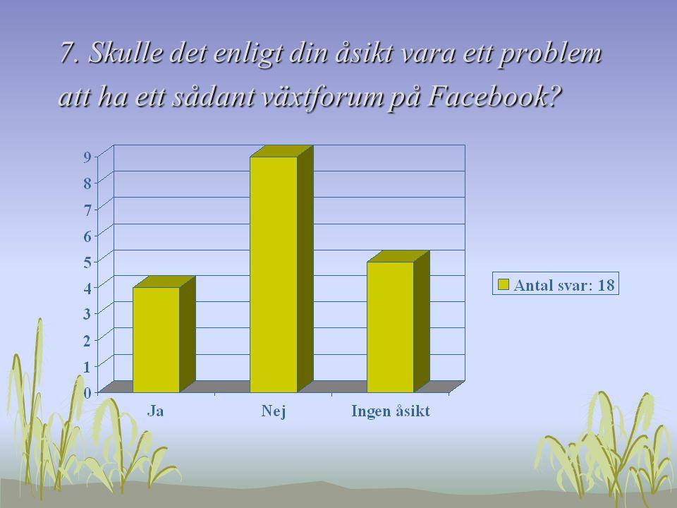 7. Skulle det enligt din åsikt vara ett problem att ha ett sådant växtforum på Facebook