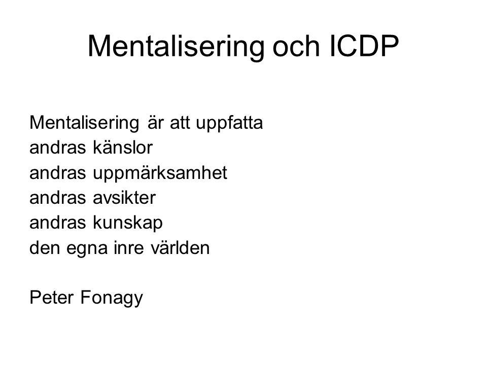 Mentalisering och ICDP Mentalisering är att uppfatta andras känslor andras uppmärksamhet andras avsikter andras kunskap den egna inre världen Peter Fonagy
