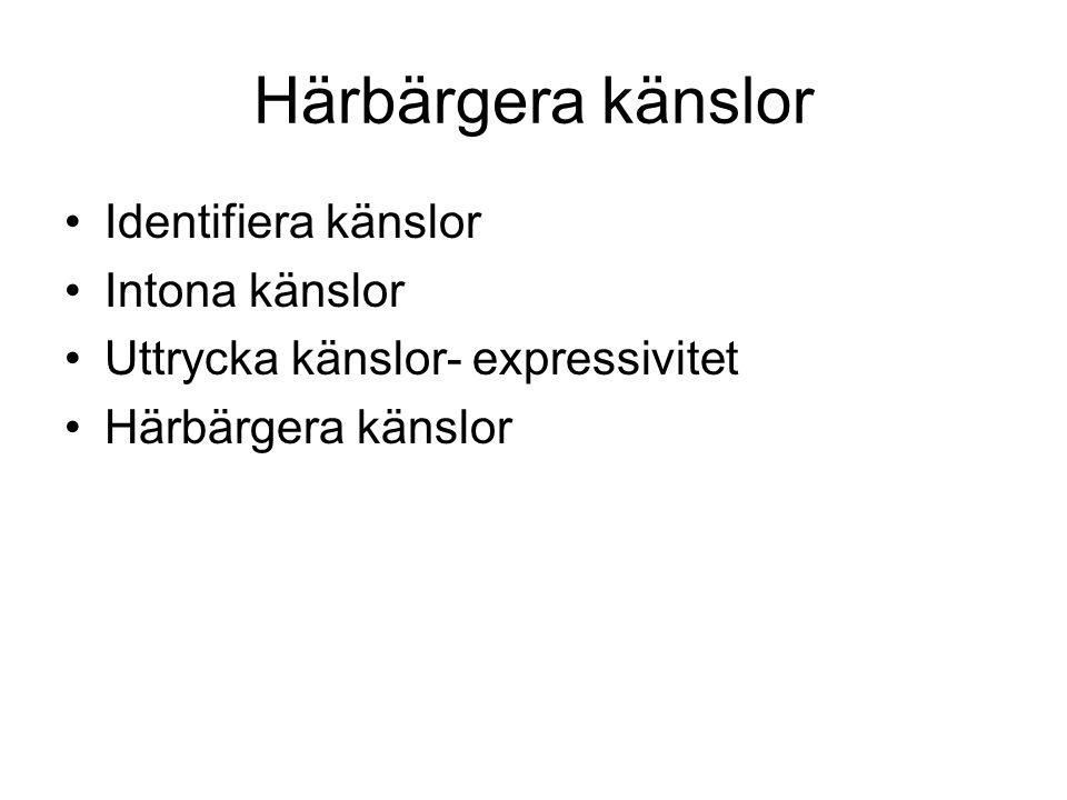 Härbärgera känslor Identifiera känslor Intona känslor Uttrycka känslor- expressivitet Härbärgera känslor