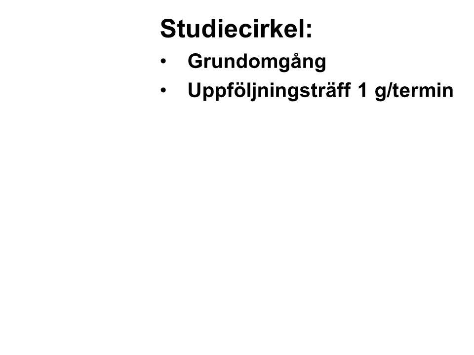 Studiecirkel: Grundomgång Uppföljningsträff 1 g/termin