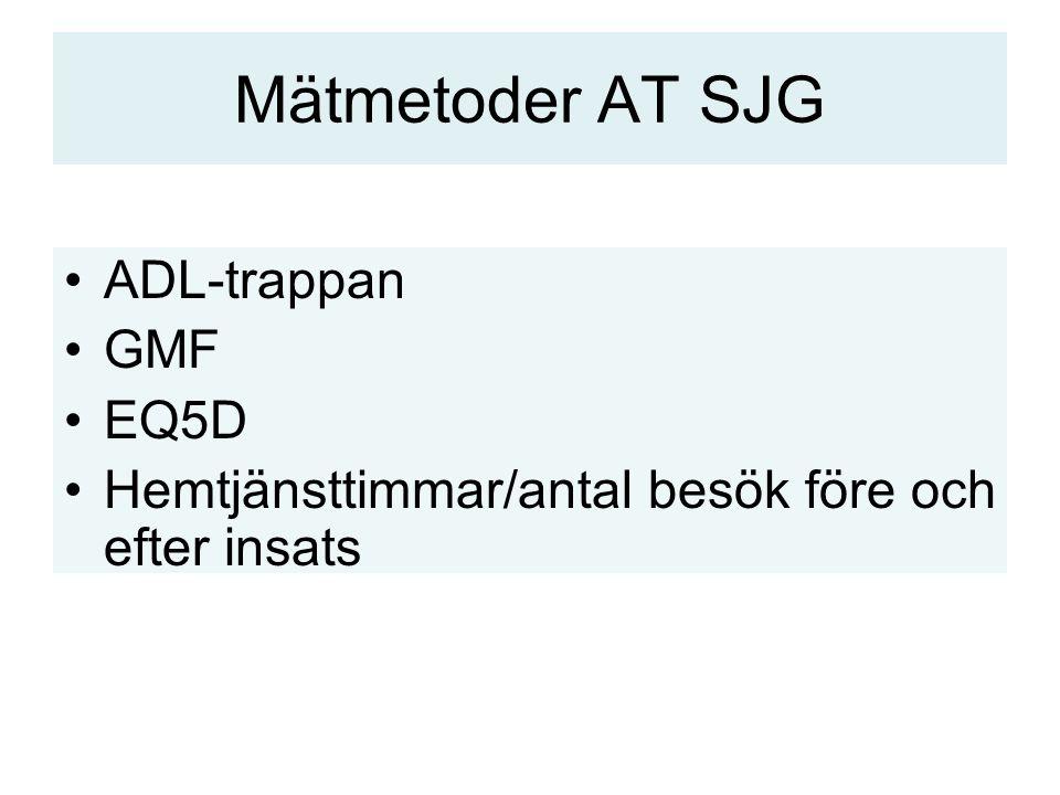 Mätmetoder AT SJG ADL-trappan GMF EQ5D Hemtjänsttimmar/antal besök före och efter insats