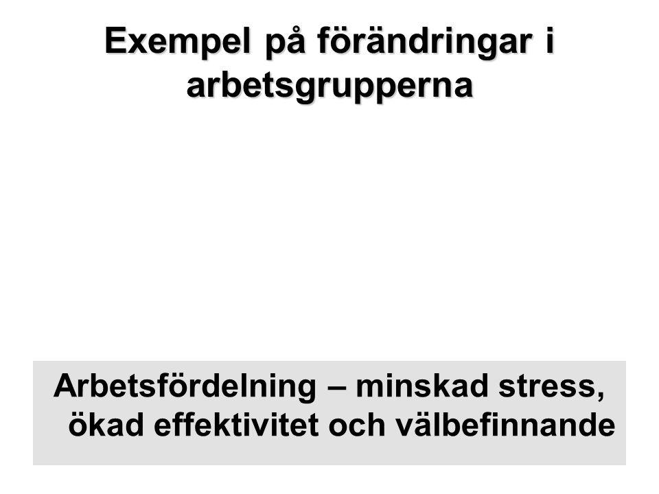 Exempel på förändringar i arbetsgrupperna Arbetsfördelning – minskad stress, ökad effektivitet och välbefinnande