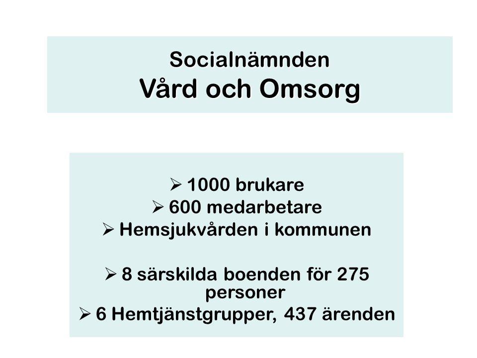  1000 brukare  600 medarbetare  Hemsjukvården i kommunen  8 särskilda boenden för 275 personer  6 Hemtjänstgrupper, 437 ärenden Socialnämnden Vår
