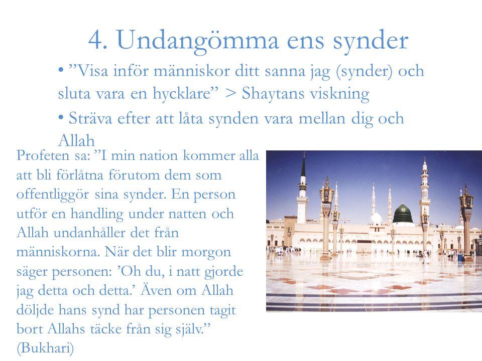 """4. Undangömma ens synder Profeten sa: """"I min nation kommer alla att bli förlåtna förutom dem som offentliggör sina synder. En person utför en handling"""
