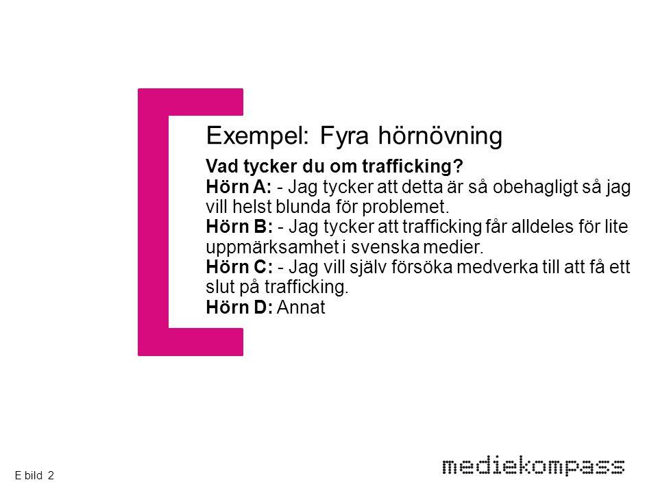 Vad tycker du om trafficking? Hörn A: - Jag tycker att detta är så obehagligt så jag vill helst blunda för problemet. Hörn B: - Jag tycker att traffic
