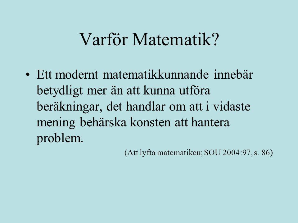 Varför Matematik.