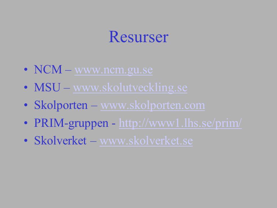 Resurser NCM – www.ncm.gu.sewww.ncm.gu.se MSU – www.skolutveckling.sewww.skolutveckling.se Skolporten – www.skolporten.comwww.skolporten.com PRIM-grup