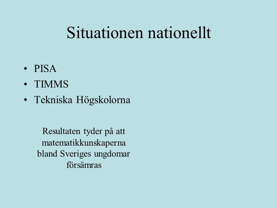 Regeringen tillsätter en utredning… Matematikdelegationen Situationen nationellt PISA TIMMS Tekniska Högskolorna Resultaten tyder på att matematikkunskaperna bland Sveriges ungdomar försämras